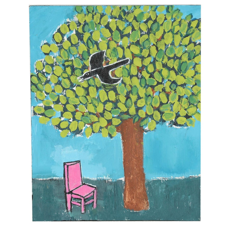 """T. Marie Nolan Outsider Folk Art Acrylic Painting """"Pink Chair and Tree"""""""