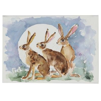 """Ingrid Wheeler Watercolor Painting """"Moonhares"""""""