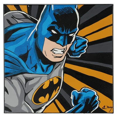 "Lonnietta Davis Acrylic Painting ""Batman"""