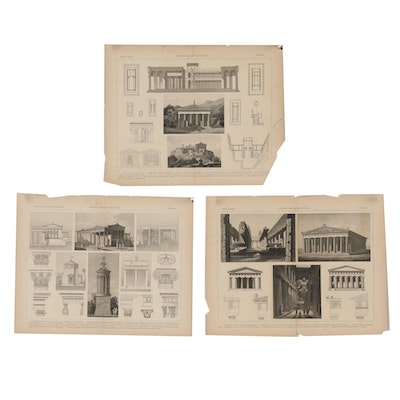 """Late 19th Century Engravings from """"Greek Architecture"""""""