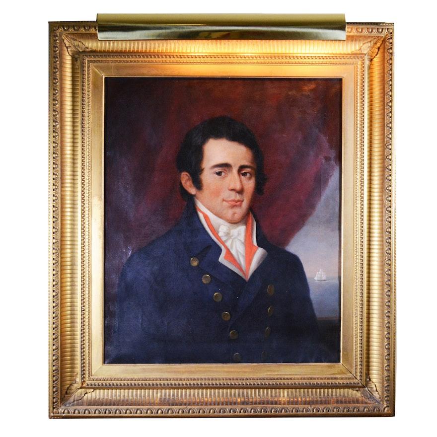 1844 Oil Portrait Painting of Captain Caleb Greene