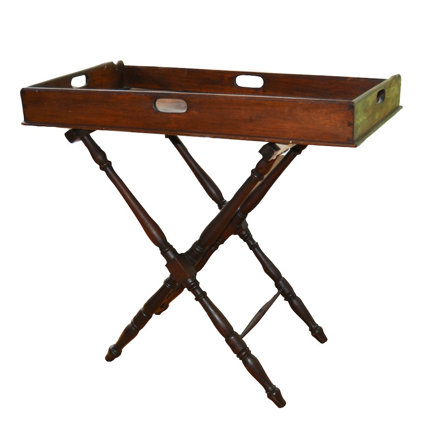 Folding Butler's Tray Serving Table, Late 19th Century