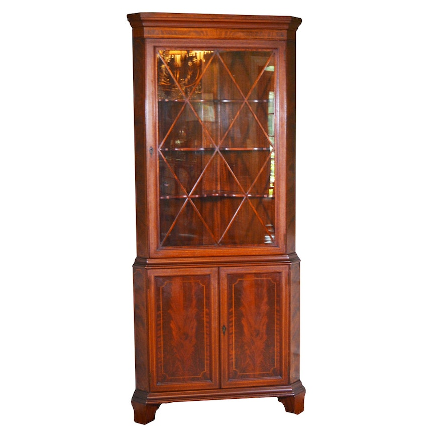 Williams-Kimp Furniture Co. Flamed Mahogany Corner Cabinet, Mid-20th Century