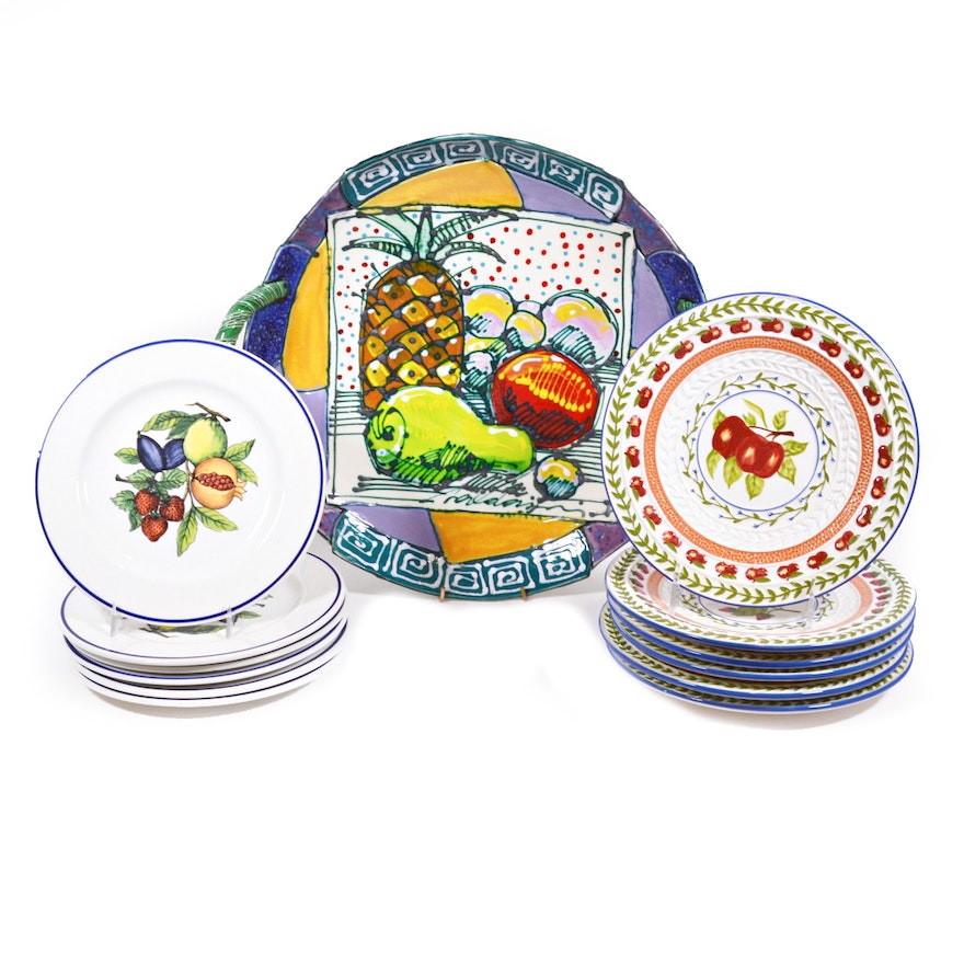 Fruit Painted Pottery Platter and Ceramic Fruit Plates