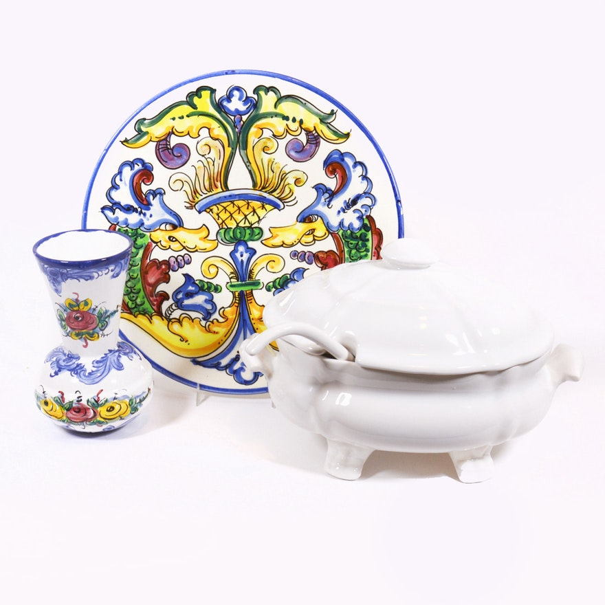 Ceramic Lidded Tureen, Serving Plate and Portuguese Ceramic Vase