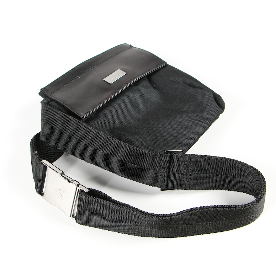 Gucci Black Canvas and Leather Belt Bag