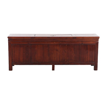 Chinese Elm Low Kang Chest, Qing Dynasty