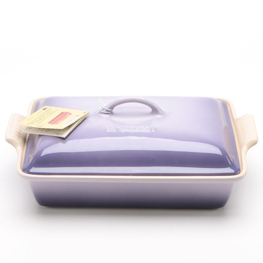 "Le Creuset 4 Quart Rectangular ""Provence Lavender"" Stoneware Casserole with Lid"