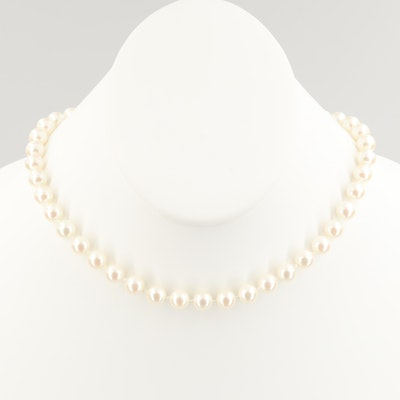 Ralph Lauren Sterling Silver Individually Knotted Imitation Pearl Necklace