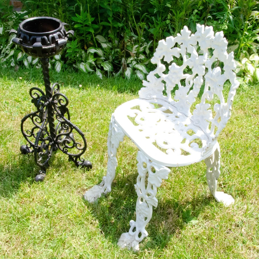 Grapevine Motif Cast Iron Garden Chair and Planter Stand