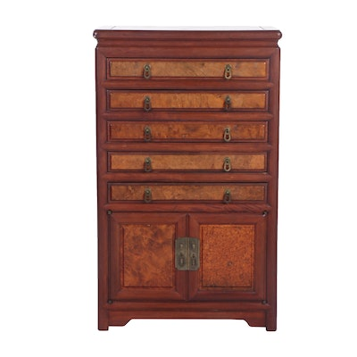 Chinese Inspired Rosewood and Burl Flatware Chest, Mid 20th Century