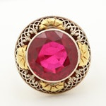 Circa 1930's 14K Yellow Gold Synthetic Ruby Ring with White Gold Accents