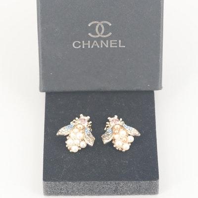 Chanel Rhinestone Honey Bee Earrings