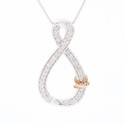 Sterling Silver Diamond Infinity Motif Pendant Necklace with Rose Wash Accent