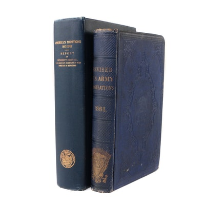 """Antique """"Revised U. S. Army Regulations, 1861"""" and """"America's Munitions Report"""""""