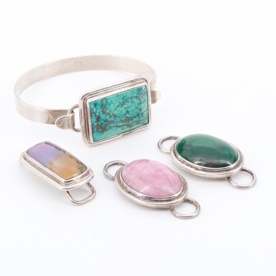 Sterling Interchangeable Bracelet with Turquoise, Dendretic Quartz and Rhodonite
