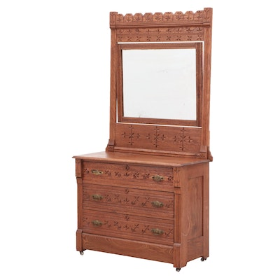 Victorian Eastlake Oak Dresser with Mirror, Late 19th Century
