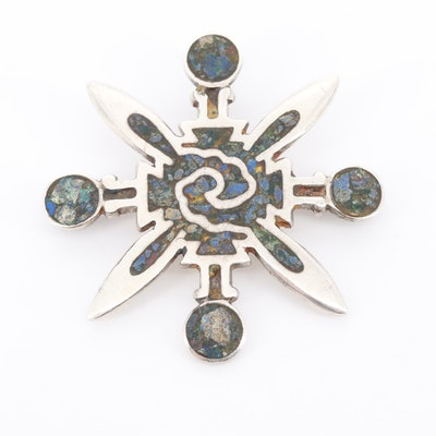 Vintage Mexican Miguel Melendez Sterling Lapis Lazuli and Malachite Brooch