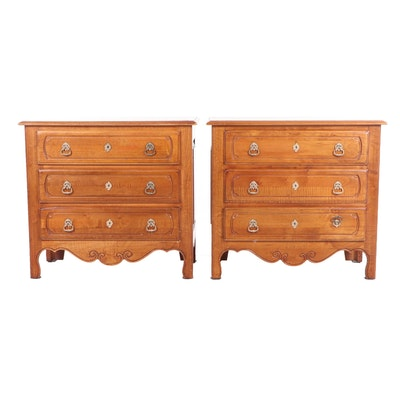 Pair of Ethan Allen French Provincial Style Wooden Nightstands, Contemporary