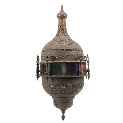 Moroccan Style Reticulated Metal Mosque Lantern, Mid to Late 20th Century