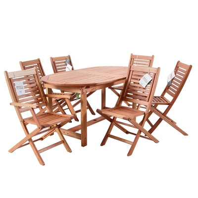 Amazonia Wooden Patio Table, Chairs and Umbrella Stand