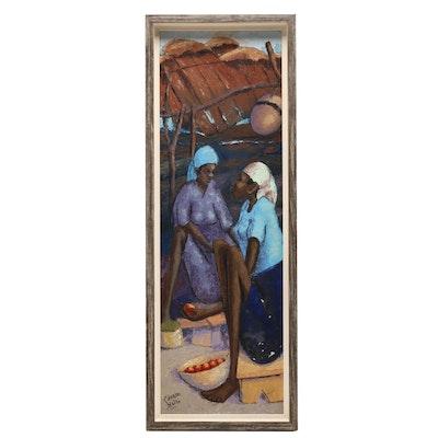 Petion Savain Market Scene Oil Painting