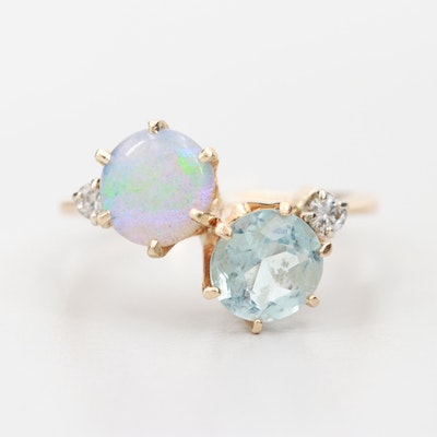 14K Yellow Gold Aquamarine and Opal Ring with Diamond Accents