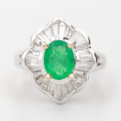 18K White Gold 0.82 CT Emerald and 1.00 CTW Diamond Ring