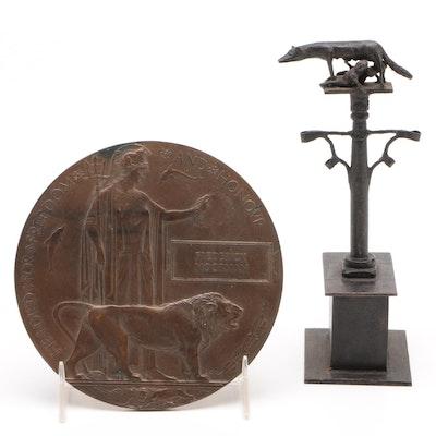 Bronze WWI Memorial Plaque and Miniature Statuette of Romulus and Remus