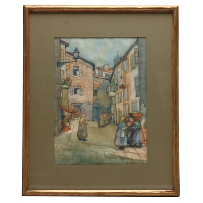 Sidney M. Wiggins Market Scene Watercolor Painting