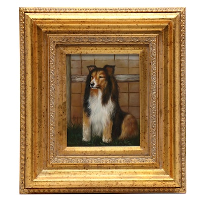 Oil Painting of Collie Dog