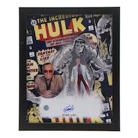 "Stan Lee Signed ""The Hulk"" Super Hero Framed Print, JSA COA"