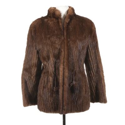 Corded Mink Fur Jacket with Pom Pom and Rope Cord Tie Belt