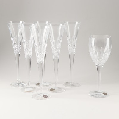 """Monique Lhuillier for Waterford """"Ellypse"""" Lead Crystal Flutes and Goblet"""
