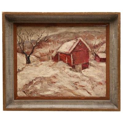Circa 1940s Oil Landscape Painting