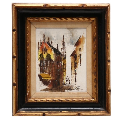 Adriano Marchello Abstract Oil Painting of Street Scene