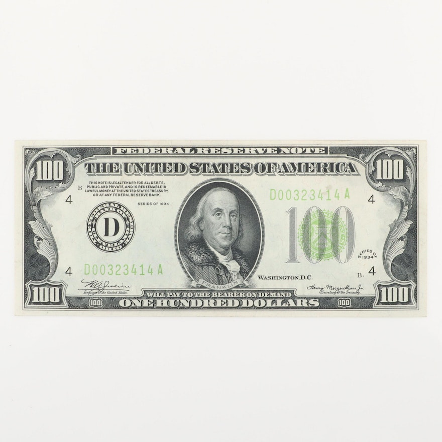Series of 1934 U.S. $100 Federal Reserve Note