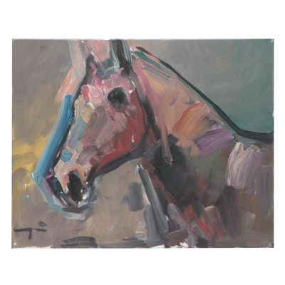 "Jose Trujillo Oil Painting ""The Horse"""