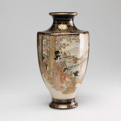 Japanese Hand-Painted Satsuma Vase, Mid 20th Century