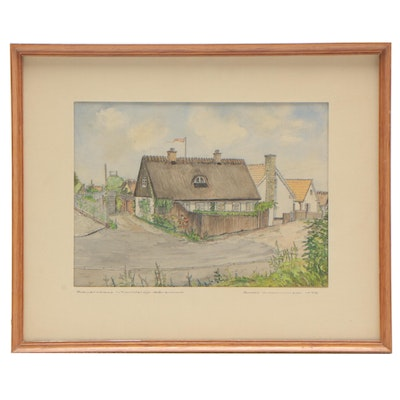 Bodo Krammisch Graphite and Watercolor Architectural Drawing