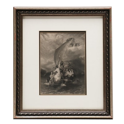 """Charles William Sharpe Engraving after William Etty """"Youth and Pleasure"""""""