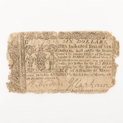 1770 Annapolis $6 Colonial Currency Note