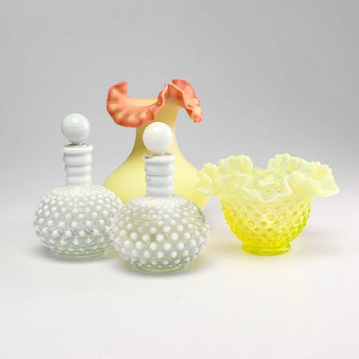 Fenton Hobnail Depression Glass Perfume Bottles and Vases