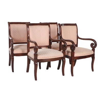 Trouvailles Empire Style Handcrafted Maple Upholstered Armchairs, Contemporary