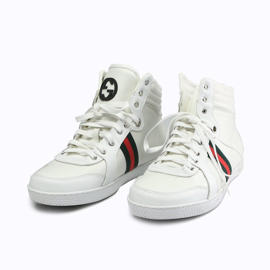 Men's Gucci White Leather Web Stripe High Top Sneakers