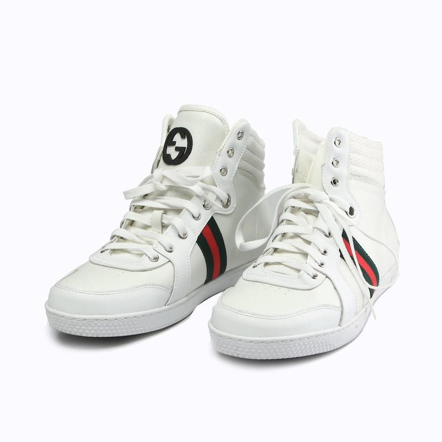 Men's Gucci White Leather Web Stripe High Top Sneakers