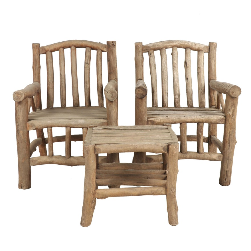 Handmade Outdoor Wooden Chairs and Table