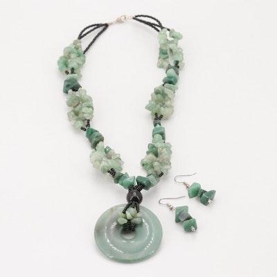 Silver Tone Aventurine Quartz Necklace and Earring Set