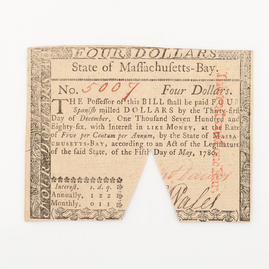1780 State of Massachusetts-Bay $4 Colonial Currency Note