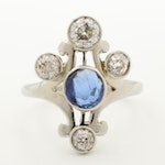 Circa 1920s 18K White Gold Untreated 1.05 CT Blue Sapphire and 0.89 CTW Diamond